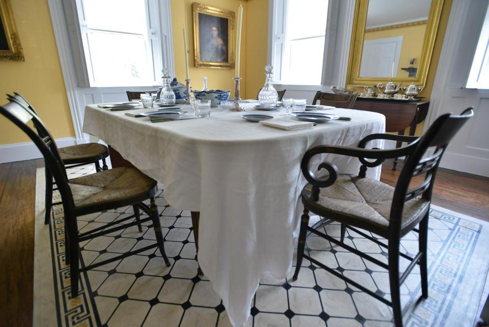 A table set with imported china, is set as it was for an elaborate 1847 Christmas dinner that was later described in the family's correspondence, in the dining room of the Ropes Mansion, a property owned by the Peabody Essex Museum, in Salem, is set to reopen to the public, following an extension renovation. The house has been closed since a 2009 fire, but is now set to reopen with reproduction bed hangings, carpet, and wallpapers. Josh Reynolds for The Boston Globe (Lifestyle, danckert)